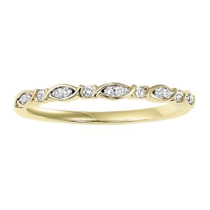 XO Yellow Gold Diamond Stack Ring