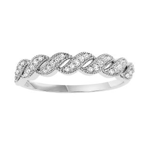 Open Swirl White Gold Diamond Stack Ring