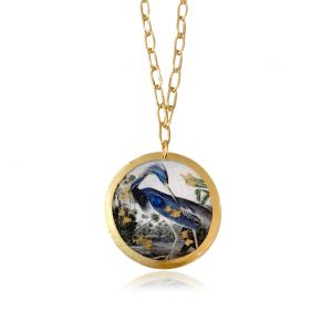 Blue Heron Disc Necklace