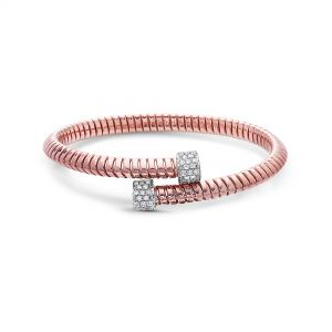 Tubogas Bypass Rose Gold Diamond Bangle