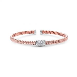 Petite Tubogas Rose Gold Diamond Section Bangle