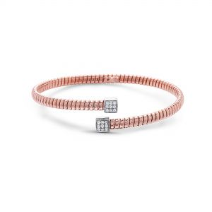 Bypass Petite Tubogas Diamond Rose Gold Bangle