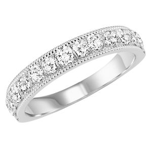 14K White Gold Diamond Milgrain Ring