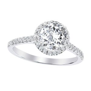 Platinum Round Diamond Halo Ring Setting, 0.33cttw