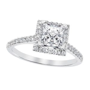 Platinum Square Diamond Halo Ring Setting, 0.35cttw