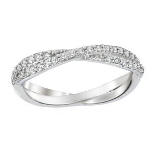 Platinum Twist Diamond Wedding Band Ring, 0.25cttw