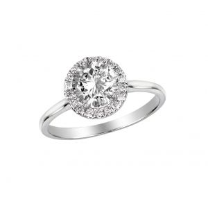 Delicate Round Diamond Halo Ring Setting, 0.3cttw