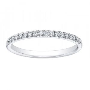Platinum Slender Diamond Stack Band, 0.3cttw