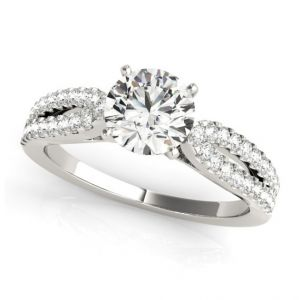 Platinum Two Row Diamond Tapered Ring Setting, 0.4cttw