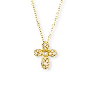18k Yellow Gold And Diamond Cross