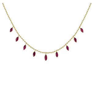 14K Cleopatra Ruby Droplet Necklace