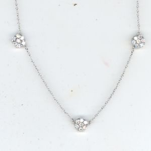 Triple Diamond Flower Cluster Necklace