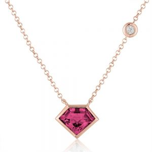 14K Metropolis Super Mini Flying Rhodolite Diamond Necklace