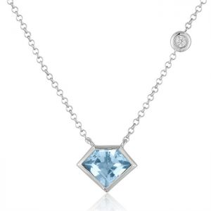 14K Metropolis Super Mini Flying Blue Topaz Diamond Necklace