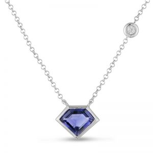 14K Metropolis Super Mini Flying Iolite Diamond Necklace