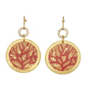 Red Coral Disc Earrings
