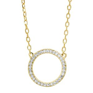 14K Yellow Gold Open Circle Diamond Pendant