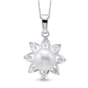 Sterling Silver CZ Flower Pearl Pendant