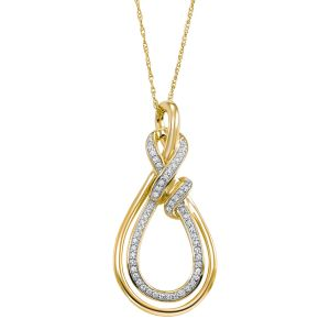 14K Yellow Gold Tear Drop Diamond Pendant