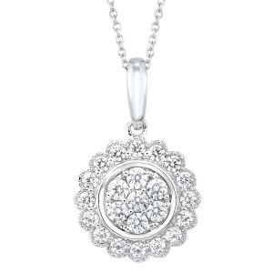 10K Scalloped Round Diamond Pendant