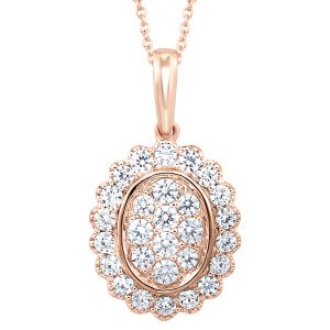 10K Scalloped Oval Diamond Pendant