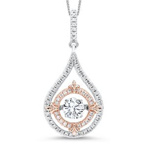 Sterling Silver Two Tone Teardrop CZ Framed Circle Pendant