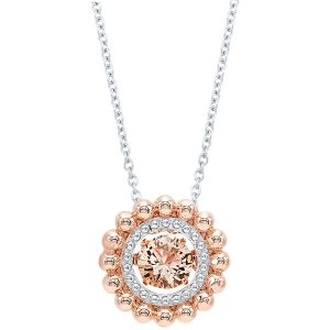 Sterling Silver + Rose Plated Beaded Halo CZ Pendant