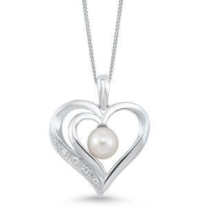 Sterling Silver Organic Heart Pearl Pendant