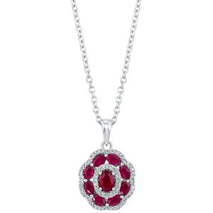 14K Diamond And Ruby Oval Floral Motif Pendant