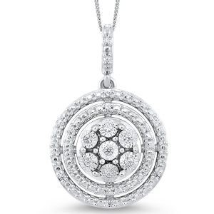 Sterling Silver Double Halo Circle Diamond Pendant