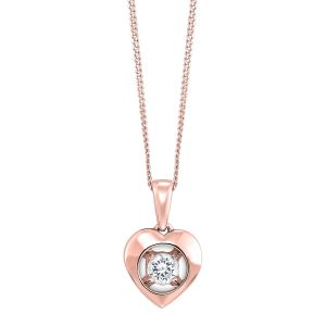10K Heart Framed Diamond Solitaire Pendant
