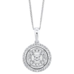 14K Round Illusion Set Double Halo Diamond Pendant