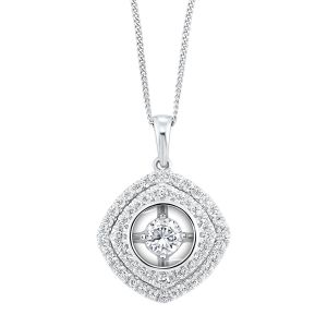 14K Cushion Illusion Set Double Halo Diamond Pendant