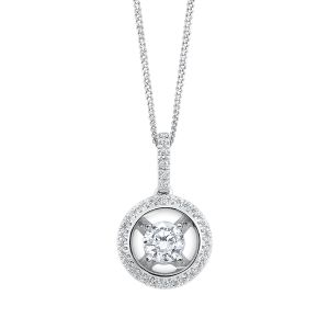 14K Pave Circle Framed Diamond Solitaire Pendant