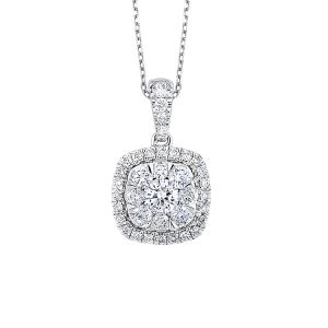 14K Cushion Shaped Cluster Diamond Pendant, 0.25cttw