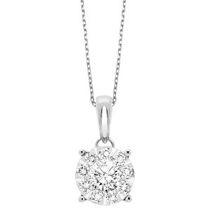 14K Round Cluster Diamond Solitaire Necklace, 0.25cttw