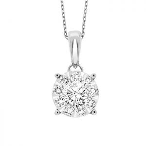 14K Round Cluster Diamond Solitaire Necklace, 0.5cttw