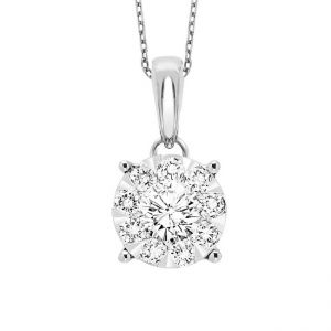 14K Round Cluster Diamond Solitaire Necklace, 0.75cttw