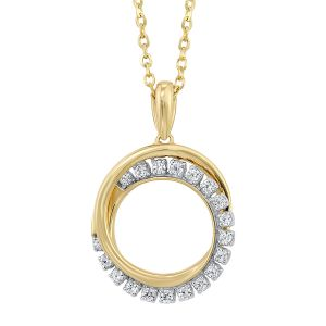 14k Yellow Gold Circle Diamond Pendant