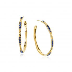 Petite Wave Yellow Gold Diamond Hoop