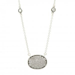 Signature Pave Oval Disc Pendant, Silver & Black