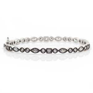 Signature Mixed Shaped Hinge Bangle, Silver & Black