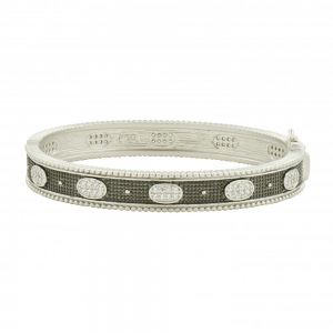 Signature Oval Eternity Hinge Bangle, Silver & Black