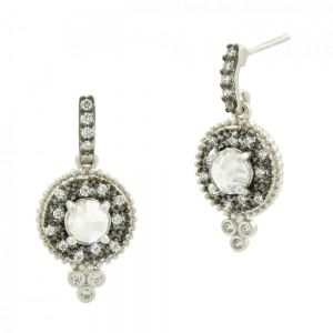 Signature Single Stone Drop Earring, Silver & Black