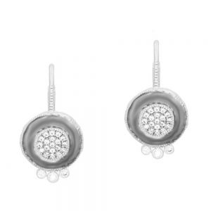 Signature Pave Disc Leveback Earrings, Silver & Black