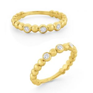 14k Gold and Diamond Bubble Stack Ring