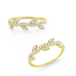 14k Gold and Diamond Stackable Vine Ring