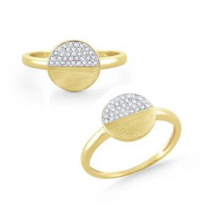 14k Gold and Diamond Disc Ring