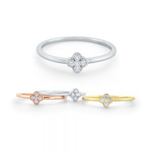 Diamond Clover Stack Ring Set in 14 Kt. Gold