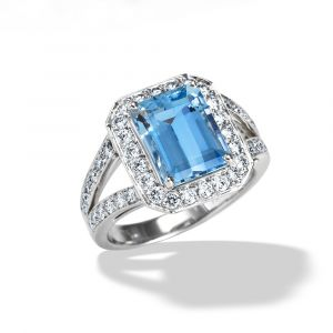 18k White Gold And Diamond Aquamarine Ring R7231AQW
